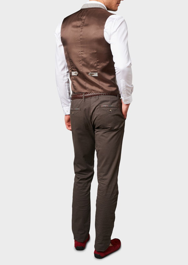 Chino slack skinny en coton stretch marron à motifs géométriques - Father and Sons 6661