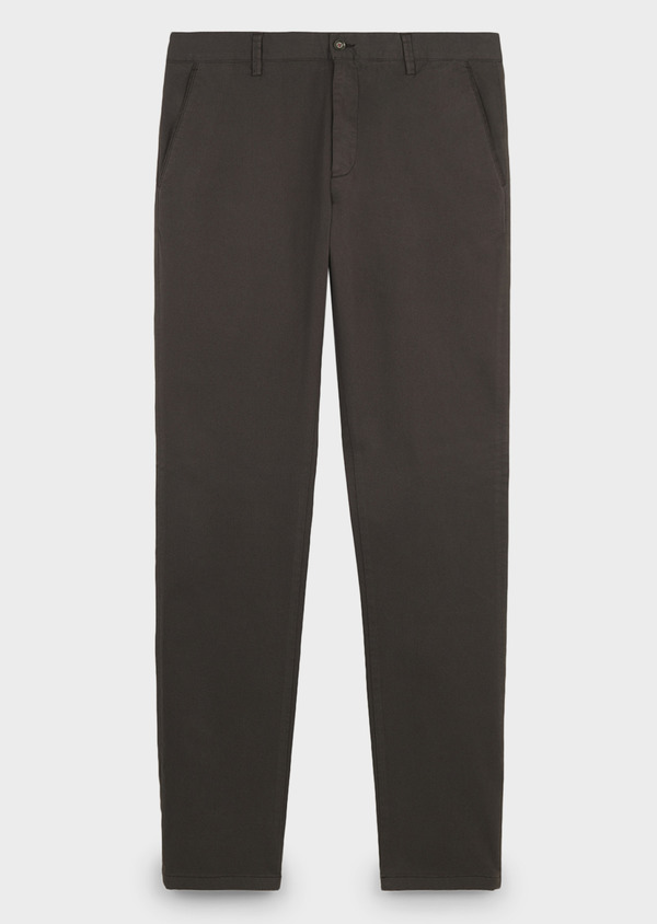 Chino slack skinny en coton stretch marron à motifs géométriques - Father and Sons 6658