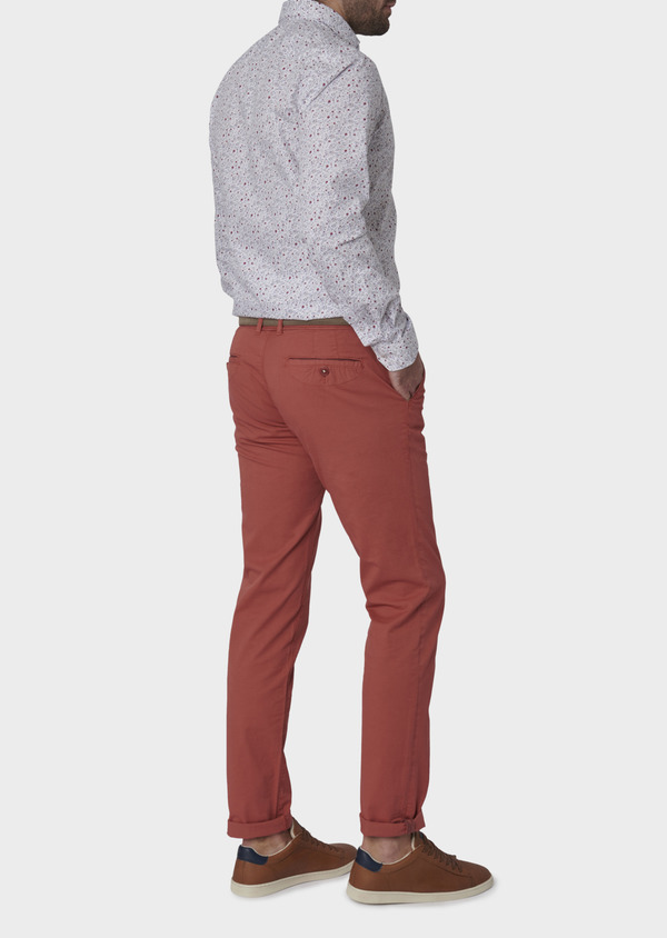 Chino slack skinny en coton stretch rose clair à pois - Father and Sons 6685