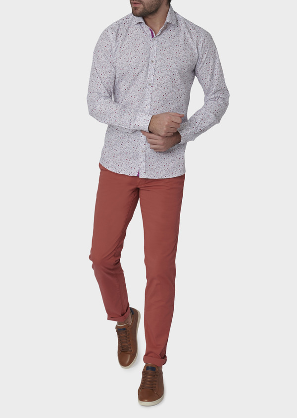 Chino slack skinny en coton stretch rose clair à pois - Father and Sons 6684