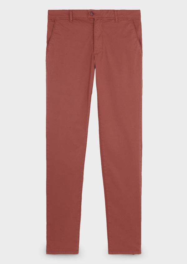 Chino slack skinny en coton stretch rose clair à pois - Father and Sons 6682