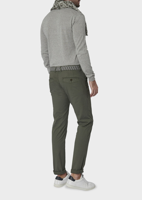 Chino slack skinny en coton stretch vert kaki à pois - Father and Sons 6667