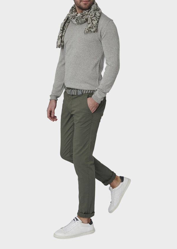 Chino slack skinny en coton stretch vert kaki à pois - Father and Sons 6666