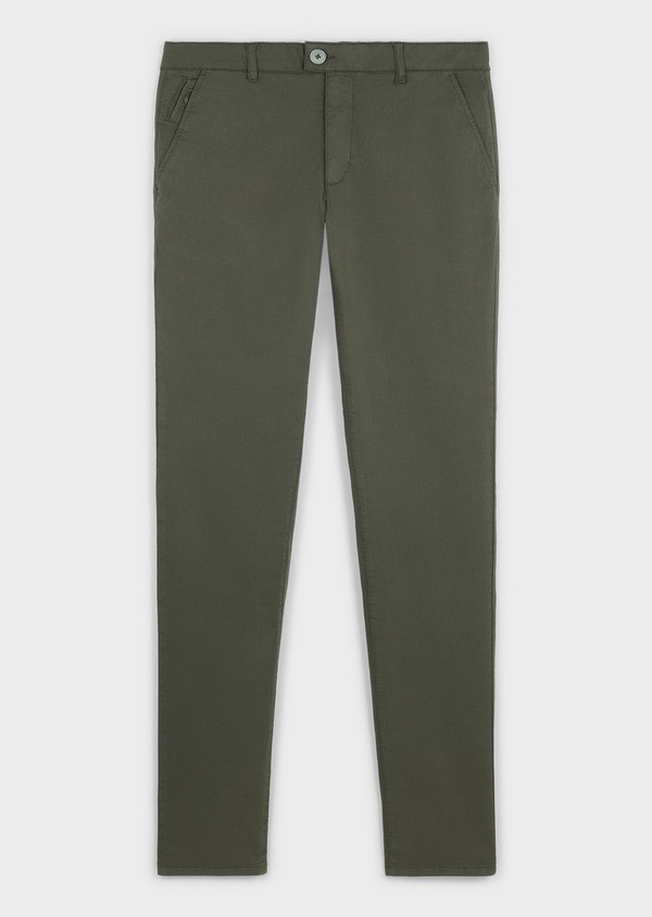 Chino slack skinny en coton stretch vert kaki à pois - Father and Sons 6664