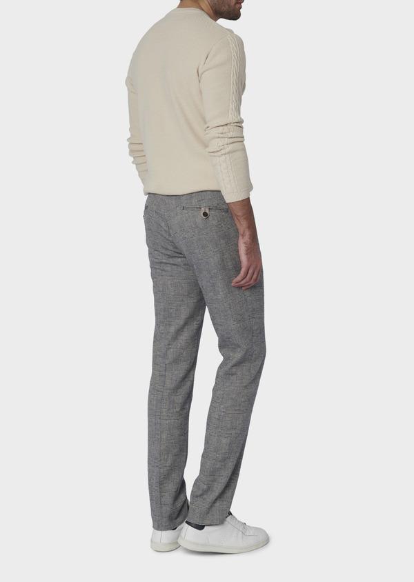 Pantalon coordonnable skinny en coton mélangé gris à motifs géométriques - Father and Sons 6649