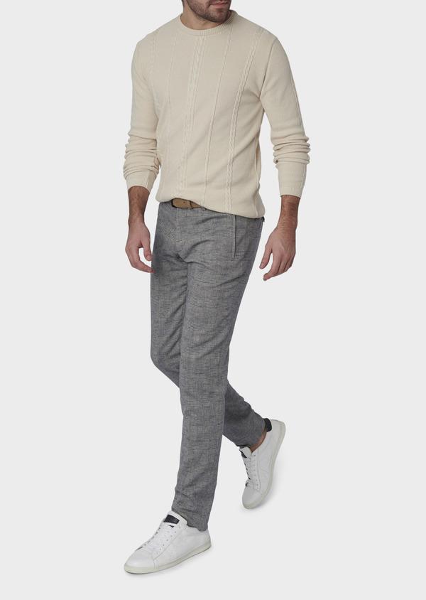 Pantalon coordonnable skinny en coton mélangé gris à motifs géométriques - Father and Sons 6648