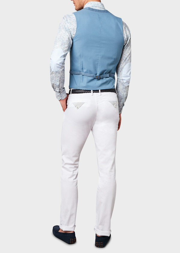 Chino slack skinny en coton stretch uni blanc - Father and Sons 6655