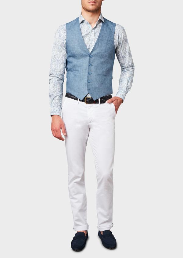 bf9d3439f911f Chino slack skinny en coton stretch uni blanc - Father and Sons 6654