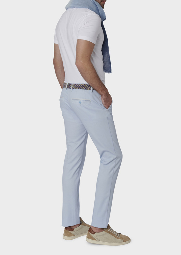 Chino slack skinny en coton stretch texturé bleu ciel - Father and Sons 6637