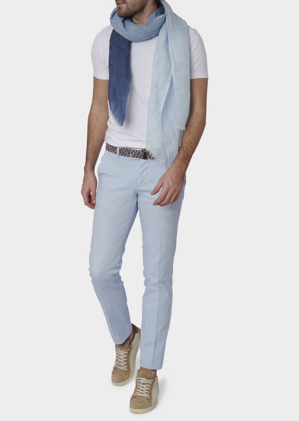 Chino slack skinny en coton stretch texturé bleu ciel - Father and Sons 6636
