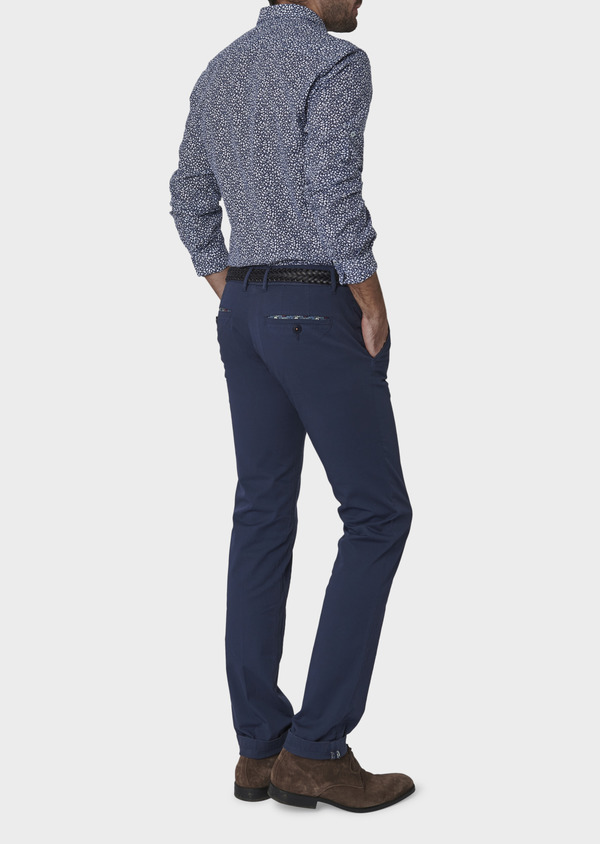 Chino slack skinny en coton stretch uni bleu indigo - Father and Sons 6643
