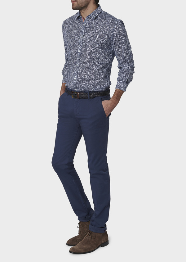 Chino slack skinny en coton stretch uni bleu indigo - Father and Sons 6642