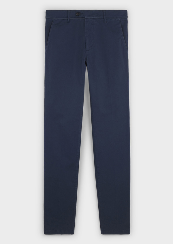 Chino slack skinny en coton stretch uni bleu indigo - Father and Sons 6640