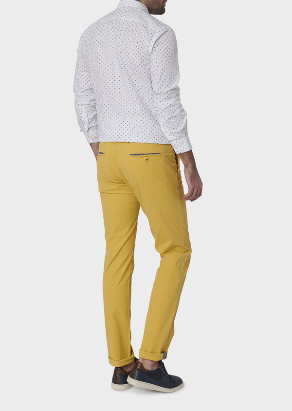 Chino slack skinny en coton stretch uni jaune - Father and Sons 6673