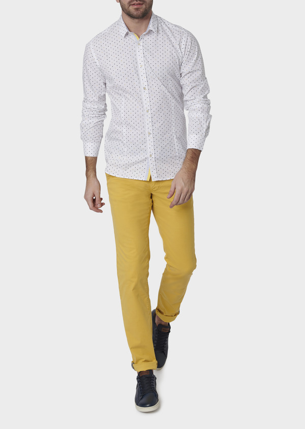 Chino slack skinny en coton stretch uni jaune - Father and Sons 6672
