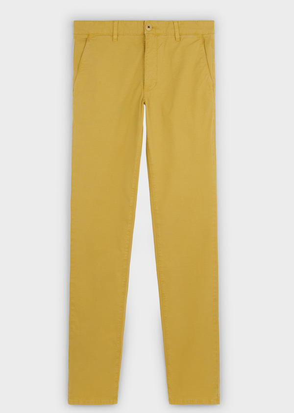 Chino slack skinny en coton stretch uni jaune - Father and Sons 6670