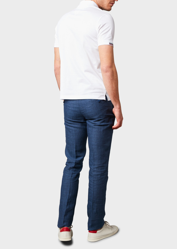 Pantalon coordonnable skinny en lin bleu indigo à motif Prince de Galles - Father and Sons 6691