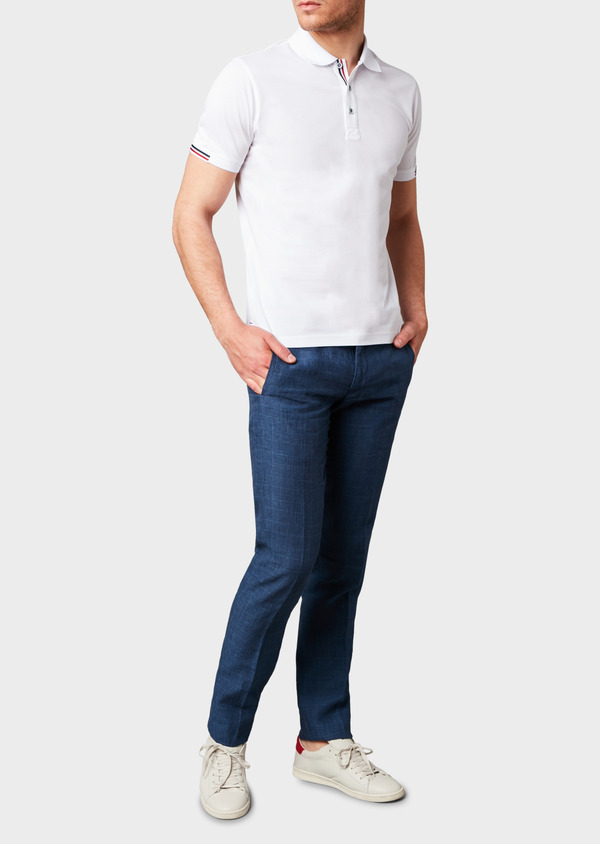 Pantalon coordonnable skinny en lin bleu indigo à motif Prince de Galles - Father and Sons 6690