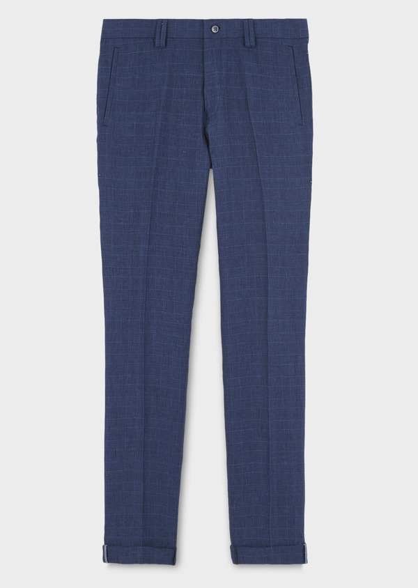 Pantalon coordonnable skinny en lin bleu indigo à motif Prince de Galles - Father and Sons 6688
