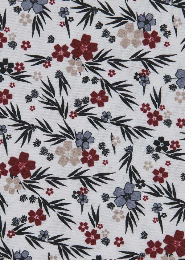 Pochette en coton blanche à motif fleuri bordeaux et vert foncé - Father and Sons 6719