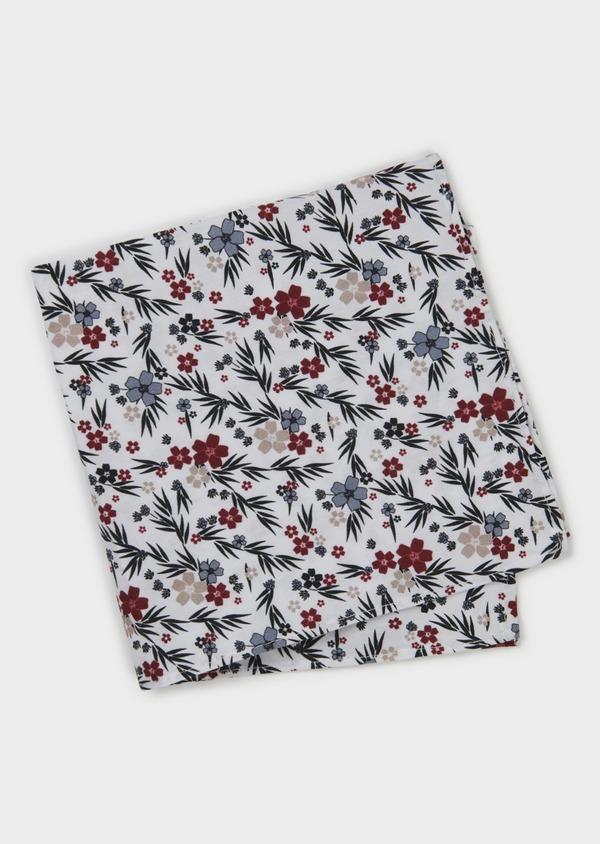 Pochette en coton blanche à motif fleuri bordeaux et vert foncé - Father and Sons 6718