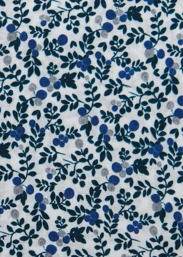 Pochette en coton blanche à motif fleuri bleu et gris clair - Father and Sons 6735