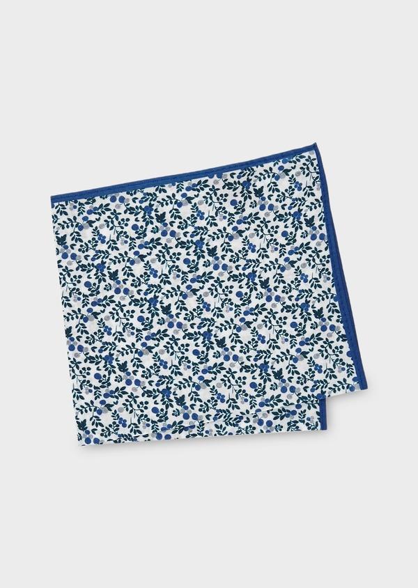 Pochette en coton blanche à motif fleuri bleu et gris clair - Father and Sons 6734