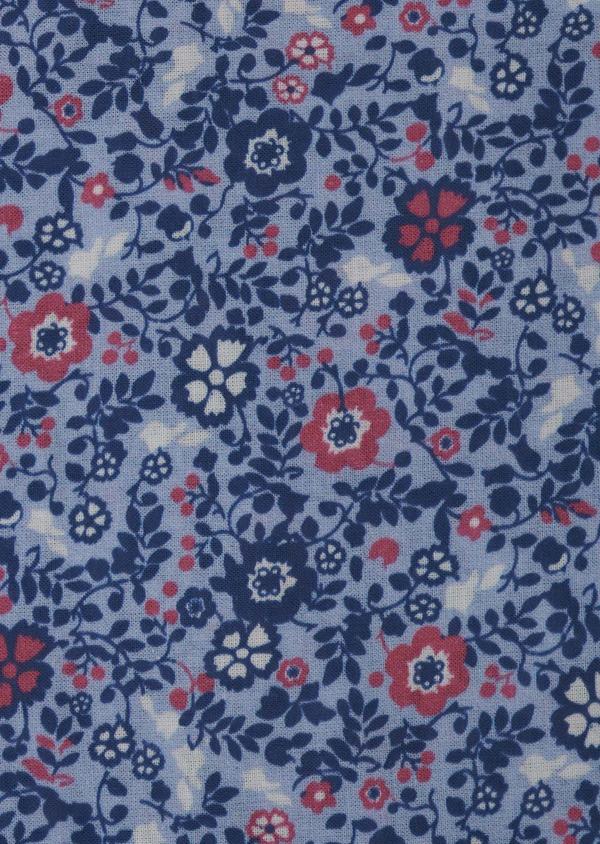 Pochette en coton bleu clair à motif fleuri bleu foncé et rose - Father and Sons 6739