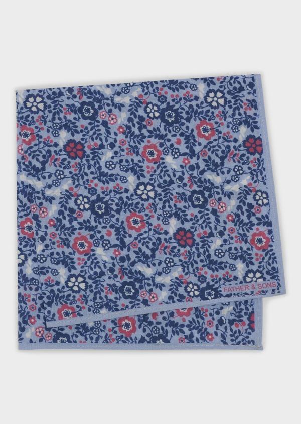 Pochette en coton bleu clair à motif fleuri bleu foncé et rose - Father and Sons 6738