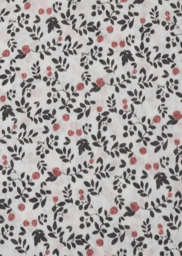 Pochette en coton blanche à motif fleuri rose clair et gris - Father and Sons 6731