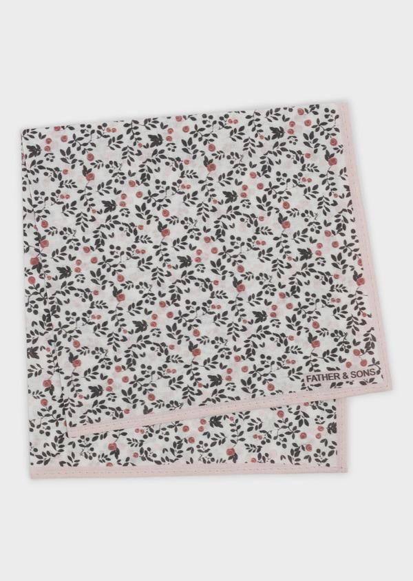 Pochette en coton blanche à motif fleuri rose clair et gris - Father and Sons 6730