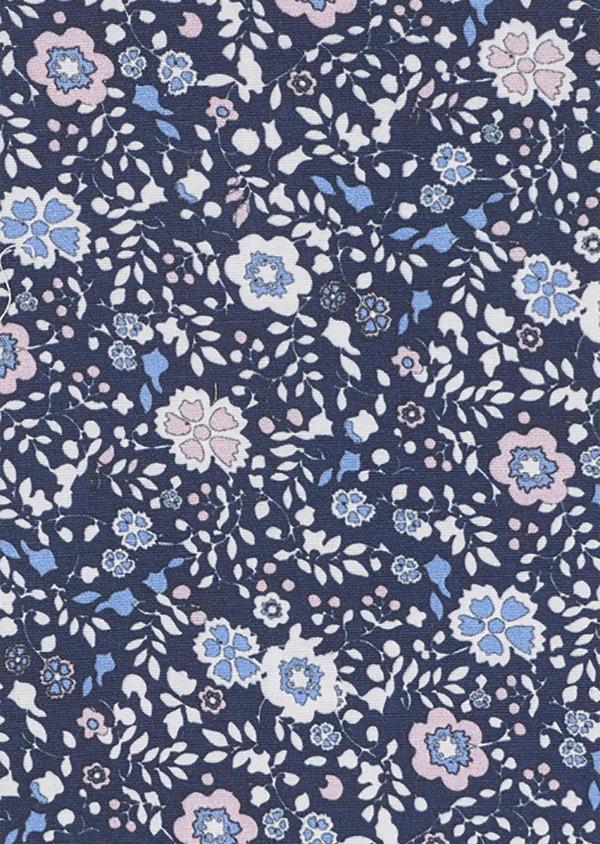Pochette en coton bleu indigo à motif fleuri bleu clair et rose clair - Father and Sons 6707