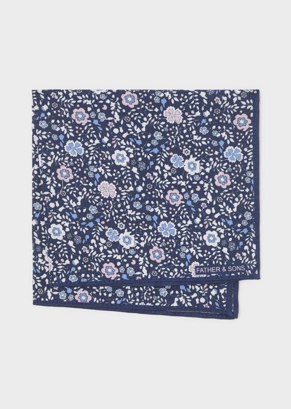 Pochette en coton bleu indigo à motif fleuri bleu clair et rose clair - Father and Sons 6706
