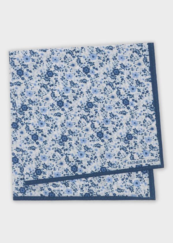 Pochette en coton blanche à motif fleuri bleu indigo et bleu clair - Father and Sons 6714