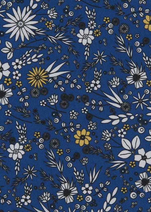 Pochette en coton bleue à motif fleuri blanc et jaune - Father and Sons 6723