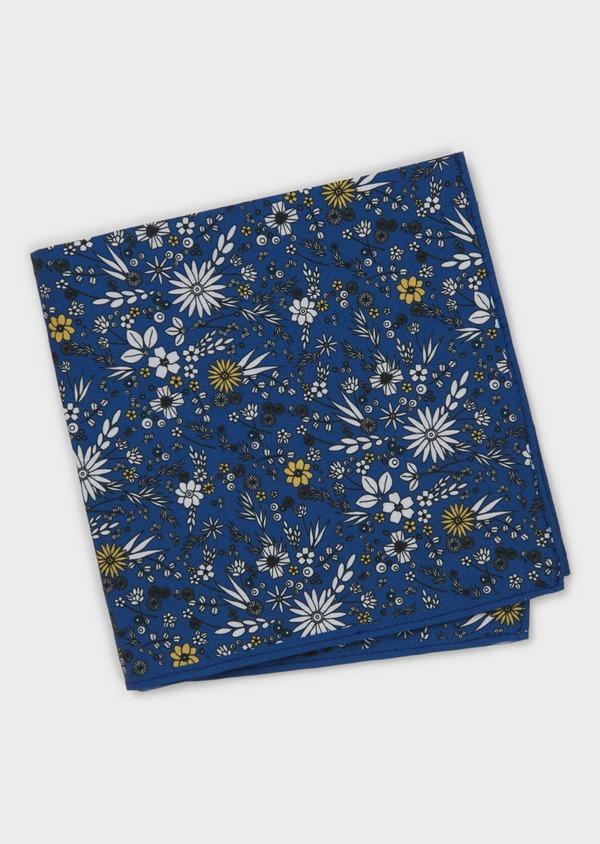 Pochette en coton bleue à motif fleuri blanc et jaune - Father and Sons 6722