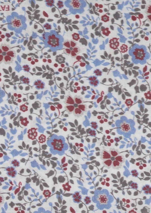 Pochette en coton blanche à motif fleuri rose foncé et bleu clair - Father and Sons 6727
