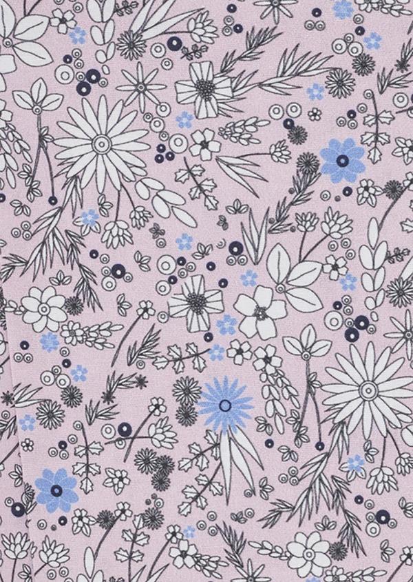 Pochette en coton rose clair à morif fleuri blanc et bleu clair - Father and Sons 6711