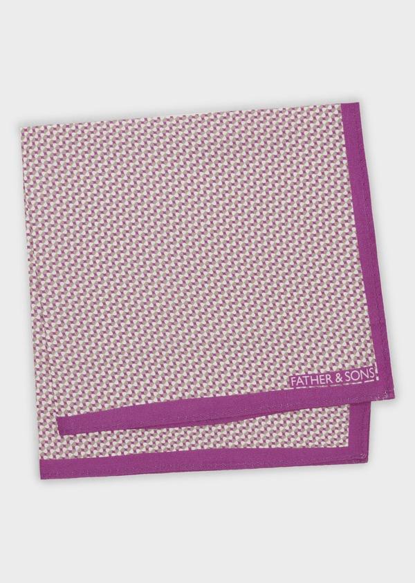 Pochette en soie à motifs géométriques rose foncé - Father and Sons 6694