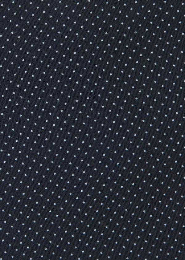 Pochette en soie à pois bleu indigo - Father and Sons 6699
