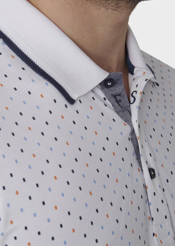 Polo manches courtes Slim en coton blanc à motifs orange et bleu - Father and Sons 7585