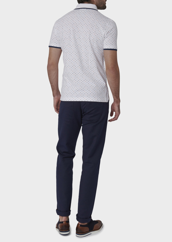 Polo manches courtes Slim en coton blanc à motifs orange et bleu - Father and Sons 7584