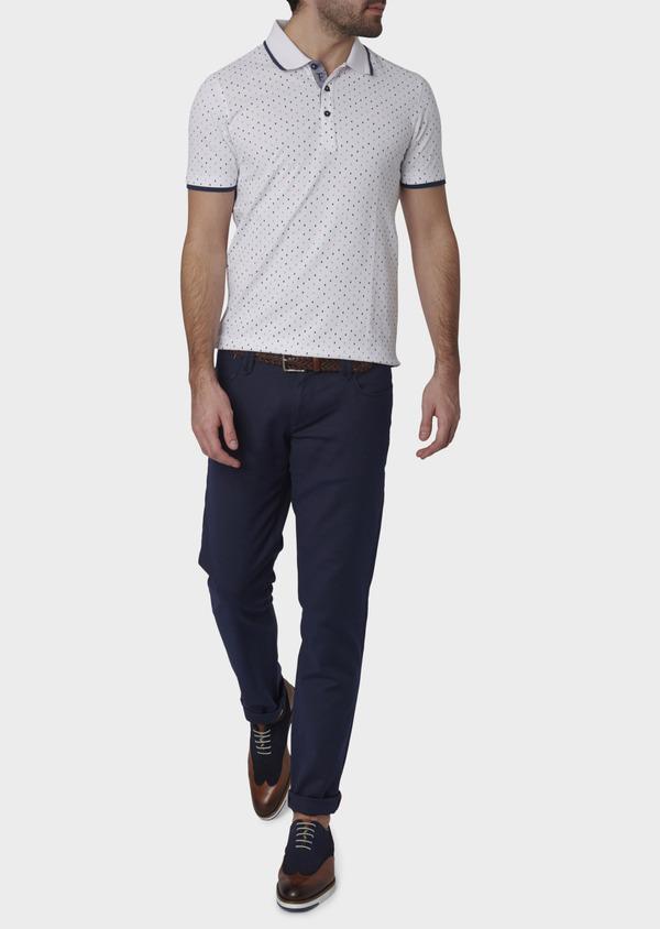 Polo manches courtes Slim en coton blanc à motifs orange et bleu - Father and Sons 7583