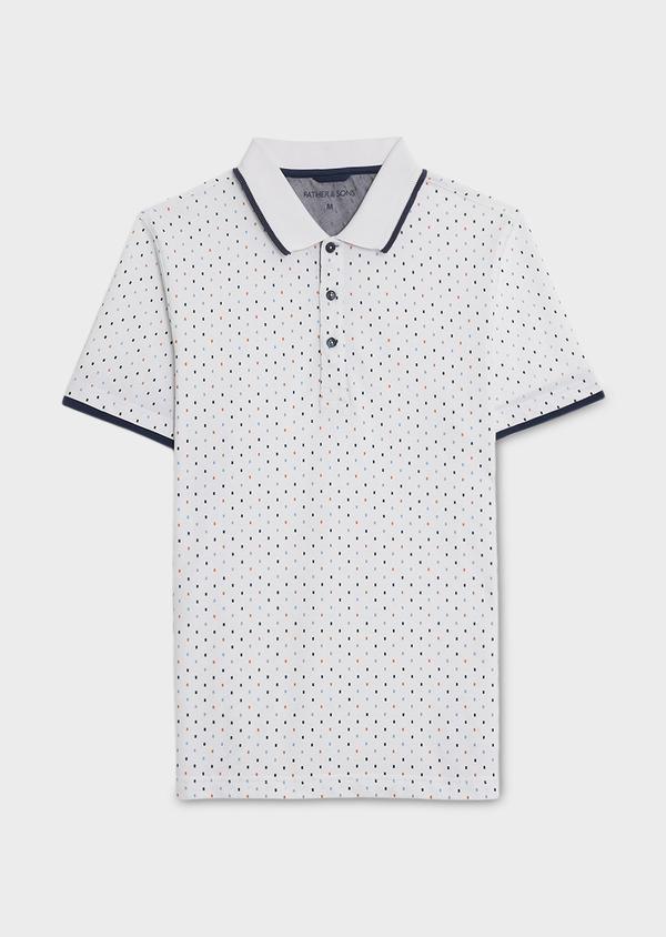 Polo manches courtes Slim en coton blanc à motifs orange et bleu - Father and Sons 7581