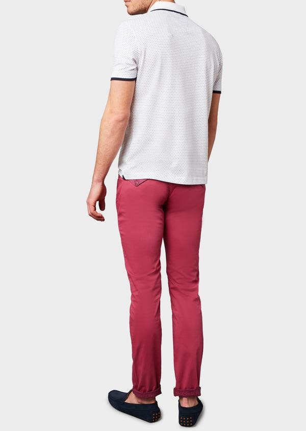 Polo manches courtes Slim en coton blanc à motifs bleus - Father and Sons 7592
