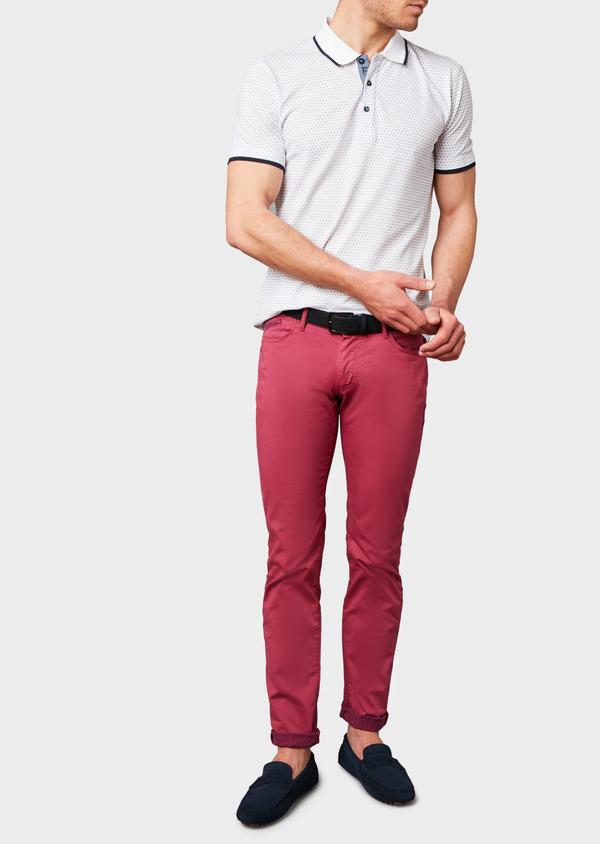 Polo manches courtes Slim en coton blanc à motifs bleus - Father and Sons 7591