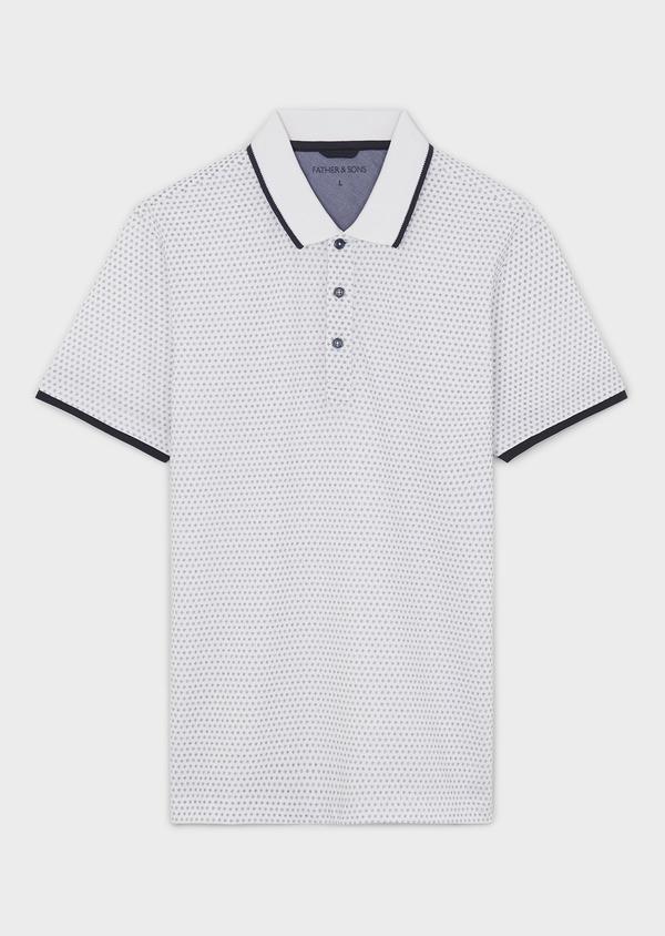 Polo manches courtes Slim en coton blanc à motifs bleus - Father and Sons 7589