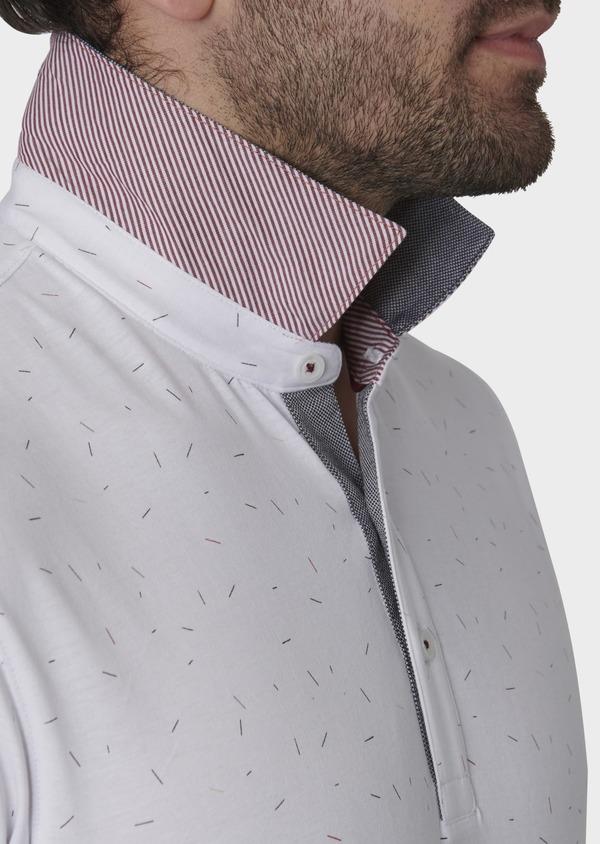 Polo manches courtes Slim en coton blanc à motifs multicolores - Father and Sons 7649