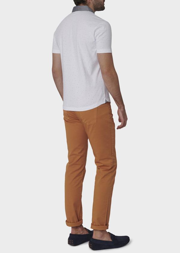 Polo manches courtes Slim en coton blanc à motifs multicolores - Father and Sons 7648