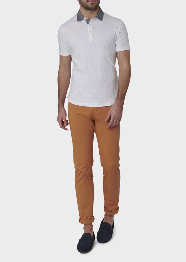 Polo manches courtes Slim en coton blanc à motifs multicolores - Father and Sons 7647